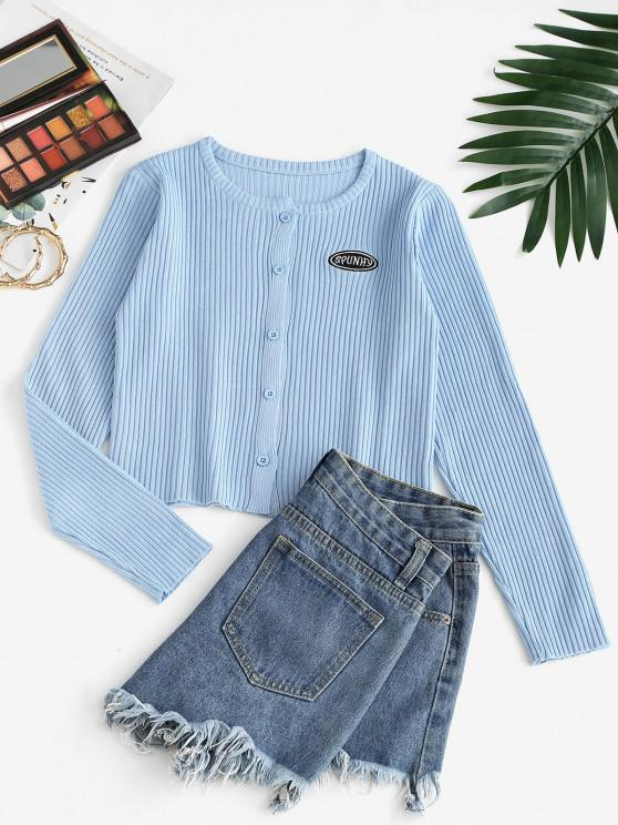chic Button Up Crew Neck Embroidered Cardigan - LIGHT BLUE ONE SIZE