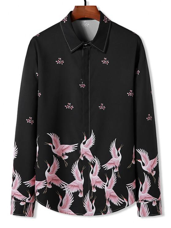 chic Floral Cranes Print Retro Long Sleeve Shirt - BLACK S
