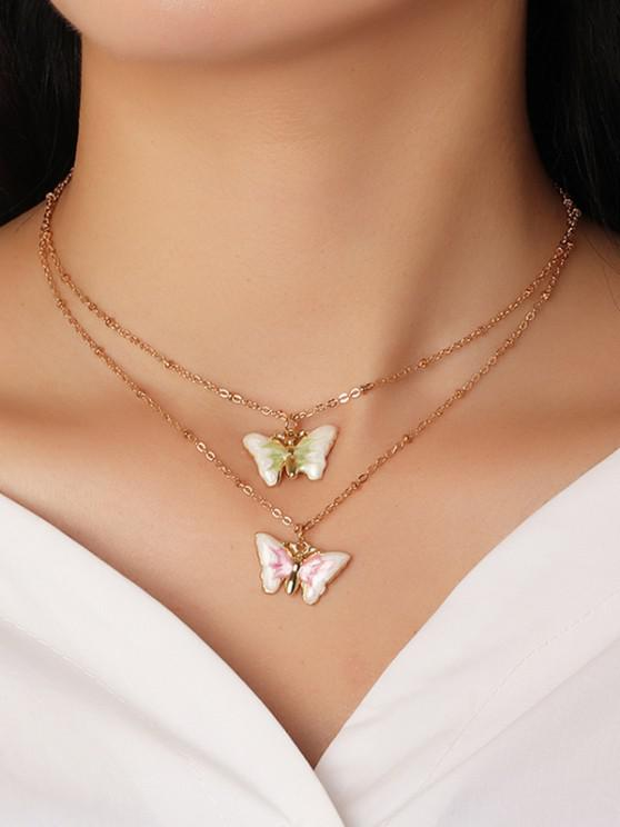 2 Piece Butterfly Chain Necklaces Set - متعددة-A