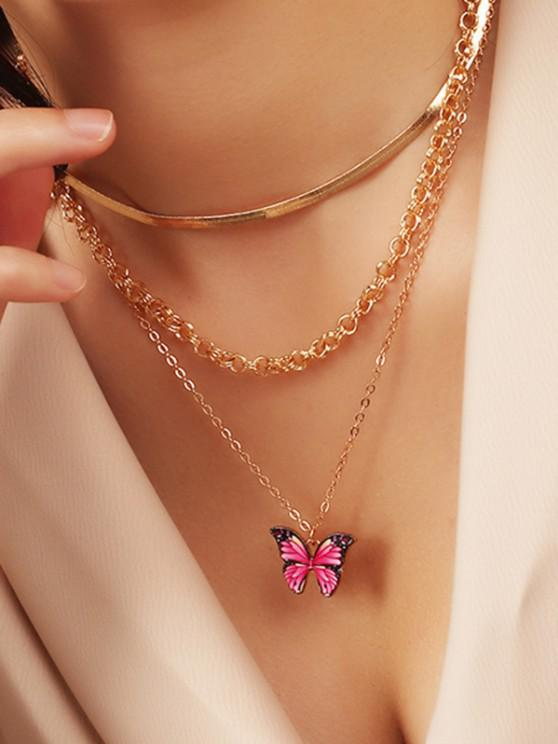 Butterfly Herringbone Chain Layered Necklace - ذهبي