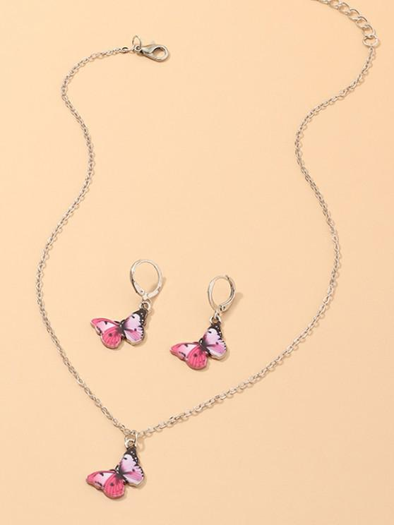 Butterfly Pendant Necklace Earrings Set - وردي فاقع