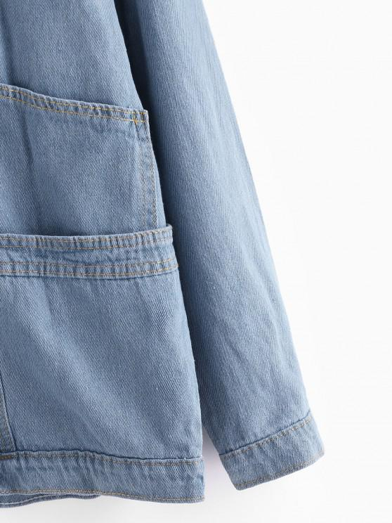 Button Up Ladder Pockets Denim Jacket - Jeans Blue M   ZAFUL