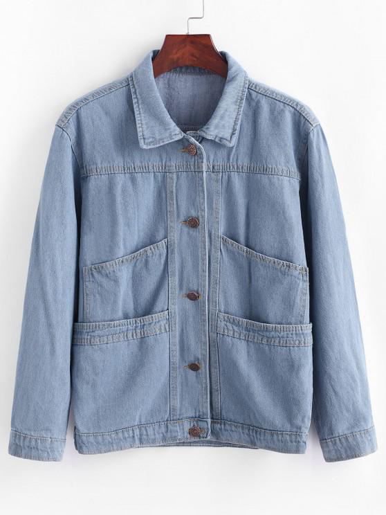 Button Up Ladder Pockets Denim Jacket - جينز ازرق XL
