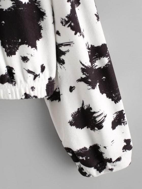 Hooded Fleece Drop Shoulder Splatter Ink Jacket - Black S | ZAFUL