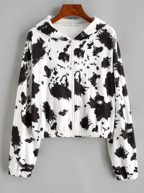 Hooded Fleece Drop Shoulder Splatter Ink Jacket - أسود M