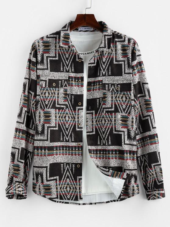 outfit ZAFUL Geometric Striped Pattern Pocket Long Sleeve Shirt - MULTI 2XL