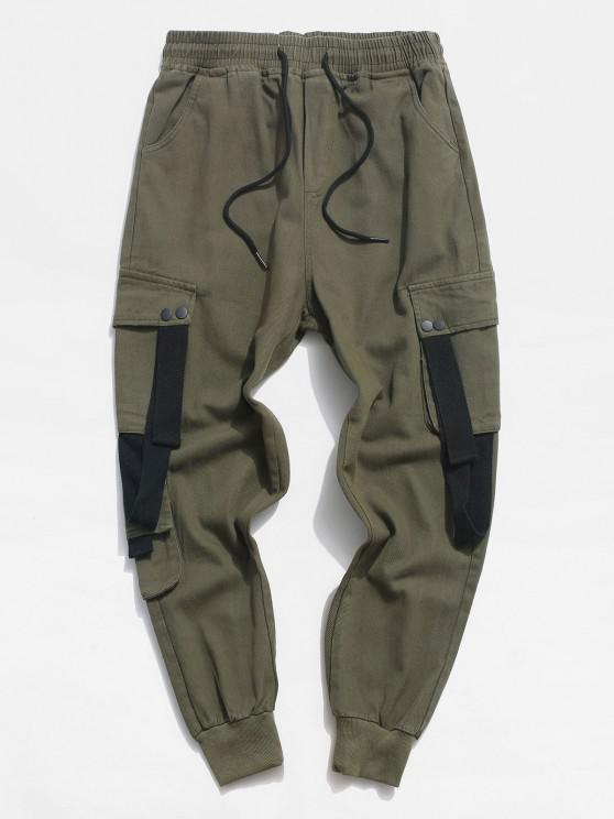Drawstring Letter Applique Contrast Tape Casual Pants - الجيش الأخضر XS