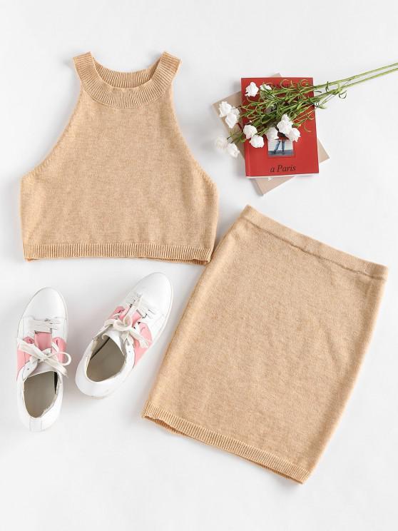 fashion ZAFUL Cutaway Knitted Bodycon Skirt Set - LIGHT COFFEE XL