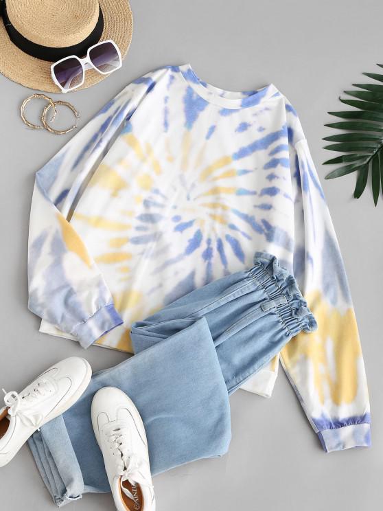 ZAFUL Spiral Tie Dye Print Sweatshirt - أزرق M