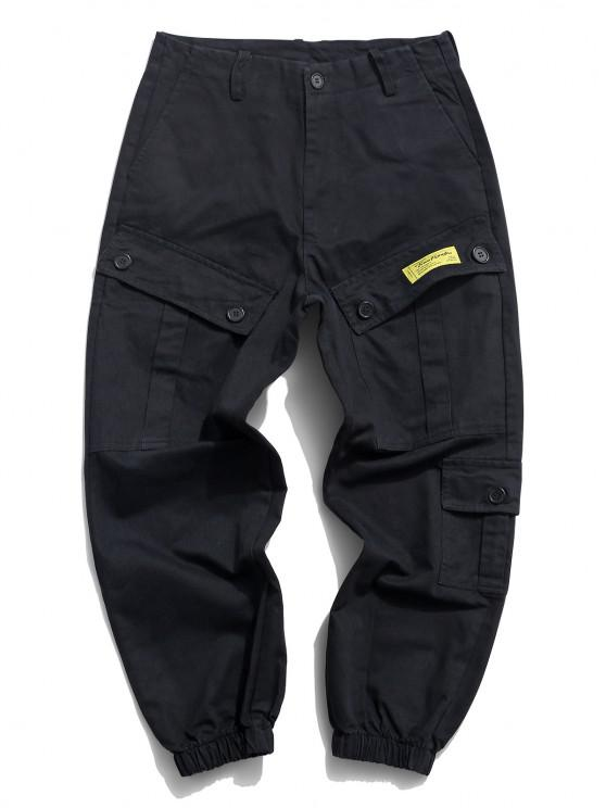 Flap Pockets Letter Patched Cargo Pants - أسود S