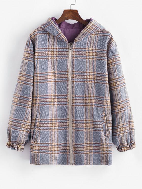 fancy Zip Up Hooded Plaid Reversible Coat - BLUE XL