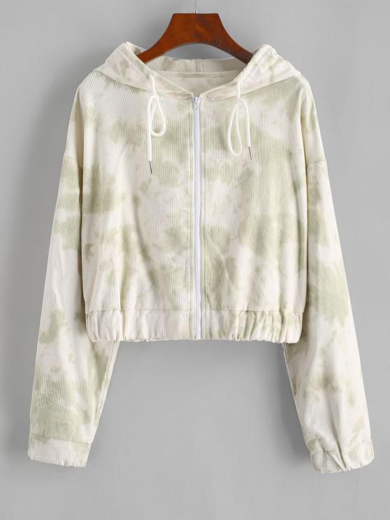 shops Tie Dye Zip Corduroy Hooded Jacket - LIGHT GREEN L