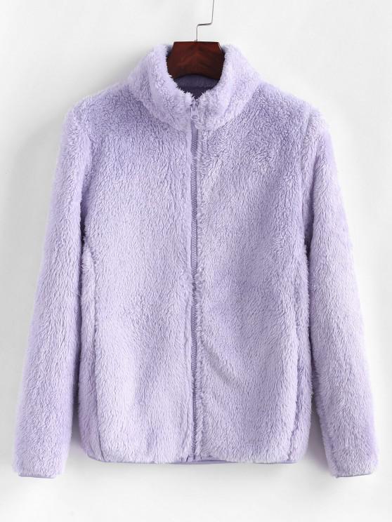Flauschiger Mantel mit Hohem Kragen und Reißverschluss - Mauve L