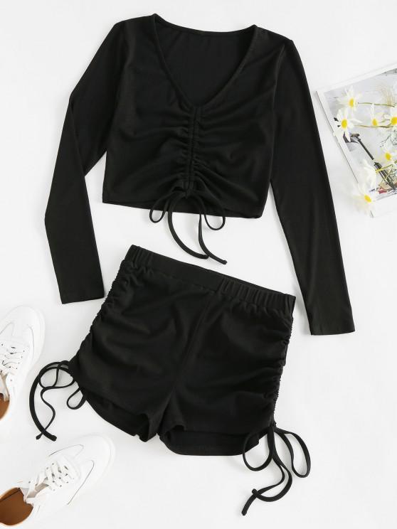 Top e Pantaloncini a Costine a Vita Alta di ZAFUL - Nero XL