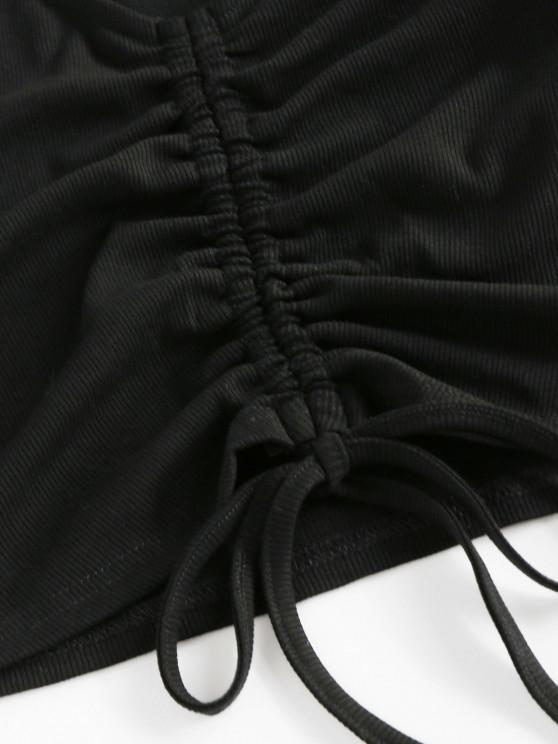 ZAFUL Ribbed Cinched High Waisted Shorts Set - Black Xl