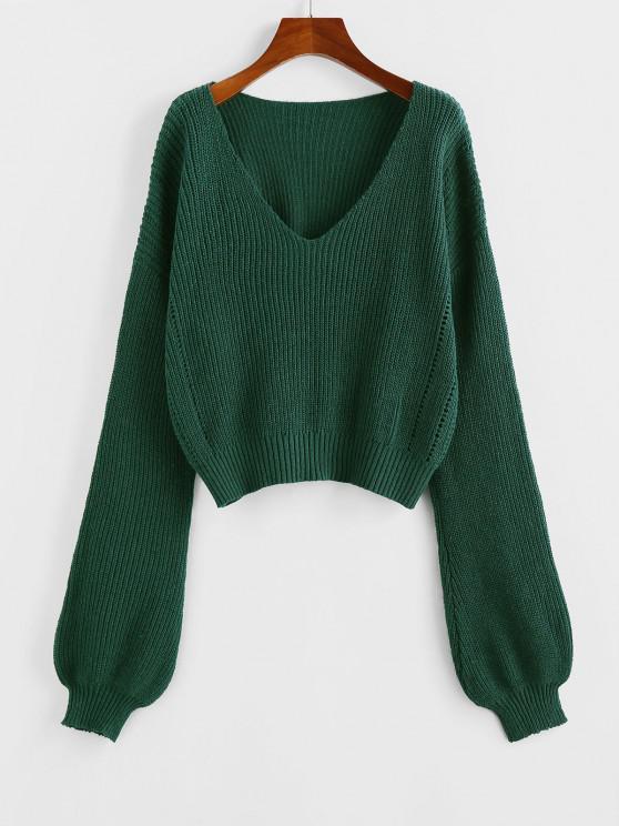ZAFUL Plunge Drop Shoulder Lantern Sleeve Sweater - ديب غرين L