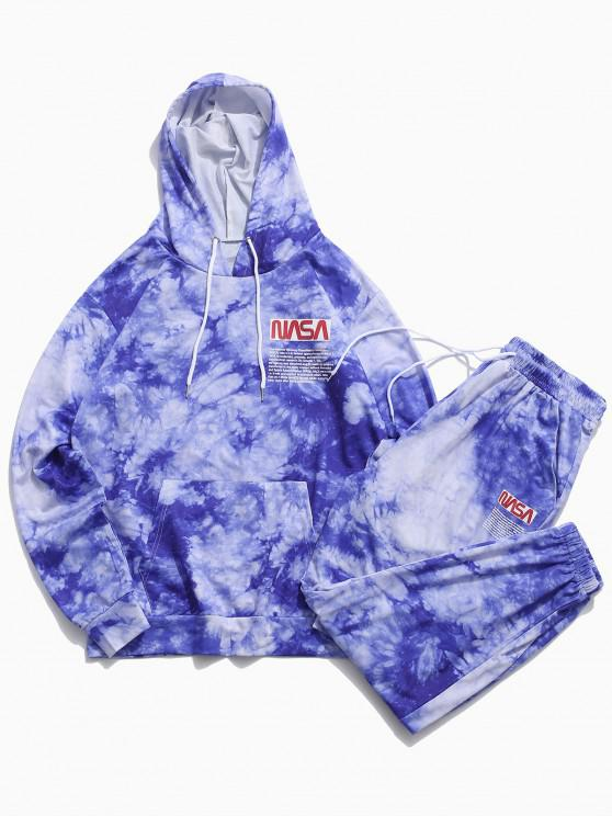 chic Letter Pattern Tie Dye Hoodie and Pants Set - BLUE S