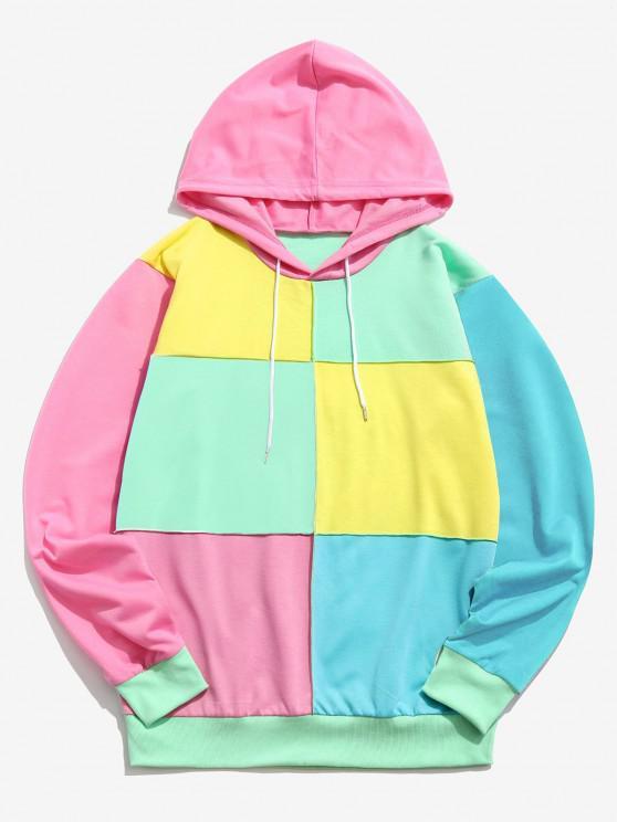 Sudadera con Capucha con Color Bloque con Cordón - Multicolor-A 2XL