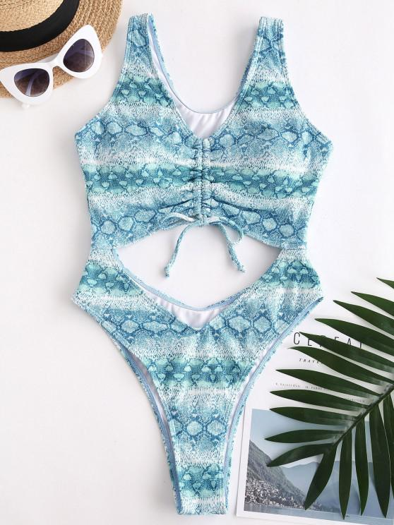 ZAFUL Snake Print Cinched Cutout High Cut One-piece Swimsuit - أزرق فاتح S