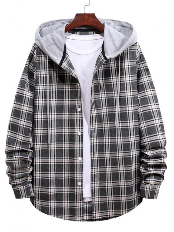 fancy Plaid Pattern Button Up Hooded Shirt - BLACK S