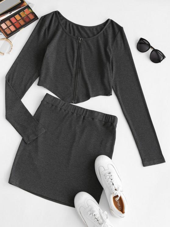 outfits ZAFUL Front Zip Irregular Two Piece Bodycon Dress - DARK SLATE GREY S