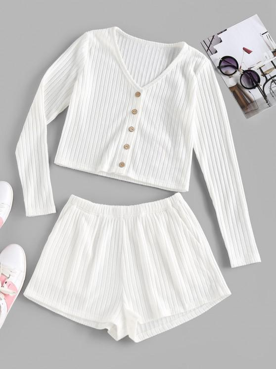 unique ZAFUL Ribbed Mock Button V Neck Shorts Set - WHITE S
