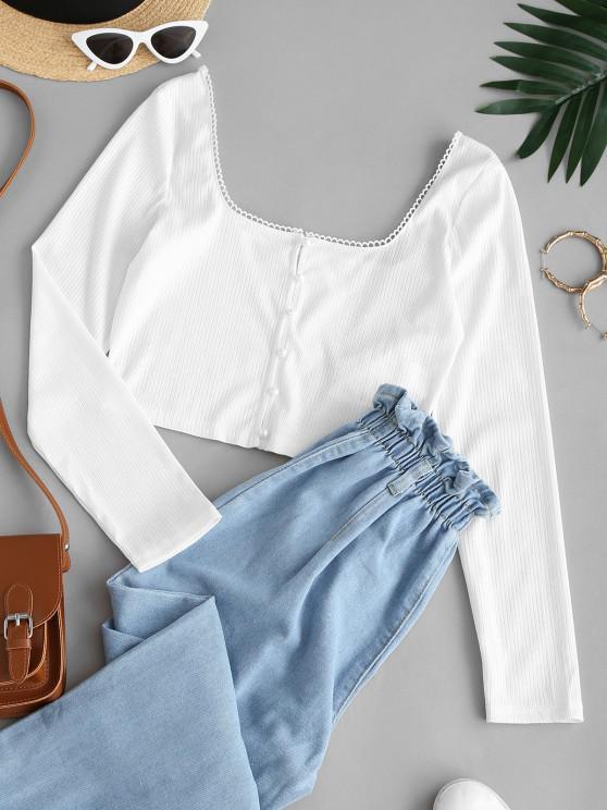 womens ZAFUL Loop Button Rib Knit Crop Cardigan - WHITE M