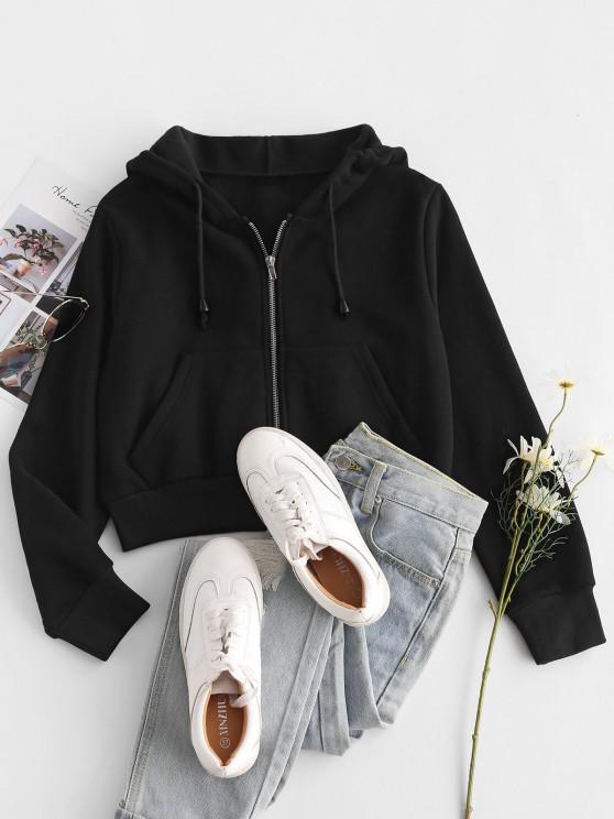shop Fleece Lined Zip Up Hoodie - BLACK XS