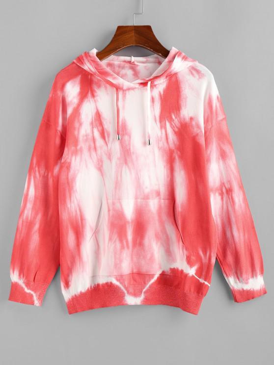 fancy Tie Dye Hooded Drop Shoulder Jersey Sweater - RED L
