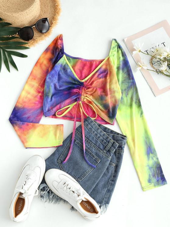 affordable ZAFUL Tie Dye Cinched Crop T Shirt - PURPLE XL