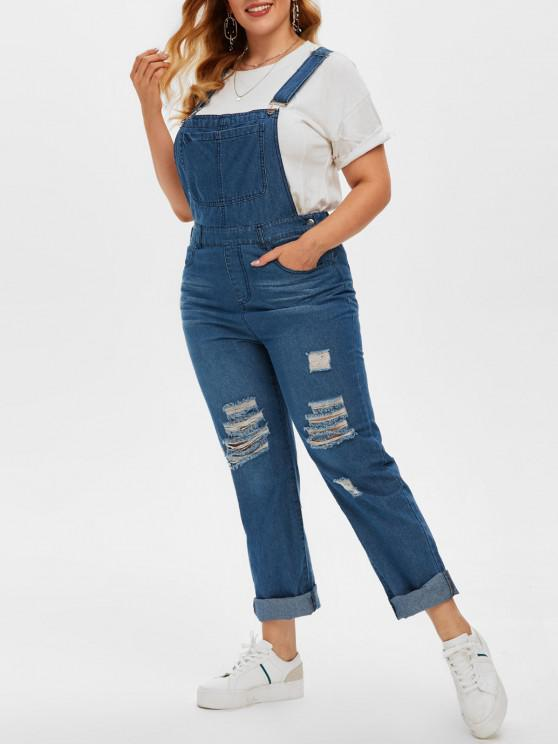 affordable Plus Size Ripped Dungaree Jumpsuit - DEEP BLUE 5X