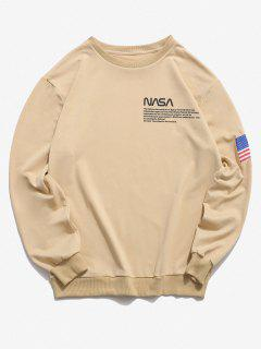American Flag Letter Print Rib-knit Trim Sweatshirt - Light Yellow 2xl