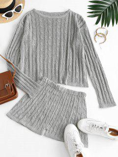 Crew Neck Solid Cable Knit Two Piece Set - Battleship Gray L