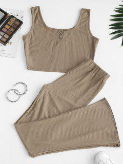 Two Piece Ribbed Button Front Flare Pants Set - Wood L