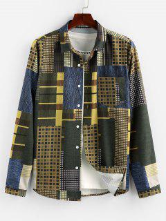 ZAFUL Geometric Pattern Pocket Button Up Shirt - Multi 2xl