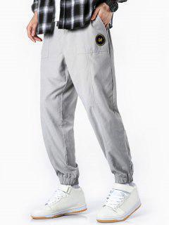 Glitter Letter Applique Casual Jogger Pants - White Xs