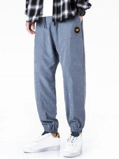 Glitter Letter Applique Casual Jogger Pants - Slate Blue Xs