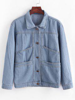 Giacca In Denim Con Tasche E Bottoni - Blu Jeans  M