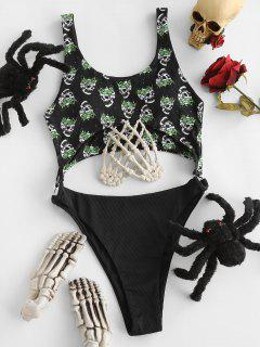 ZAFUL Halloween Skull Ribbed O Ring Cutout One-piece Swimsuit - Black M