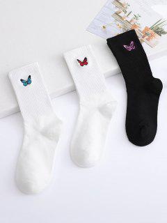 3ペア蝶の刺繍クルーソックスセット - マルチa