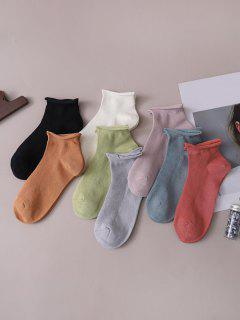 8 Pairs Solid Breathable Socks Set - Multi-a