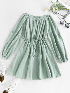 ZAFUL Applique Panel Tie A Line Dress - Cyan Opaque S