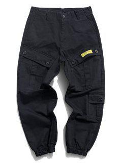 Flap Pockets Letter Patched Cargo Pants - Black Xs