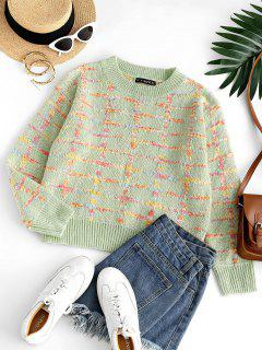Crew Neck Checked Boucle Knit Sweater - Light Green