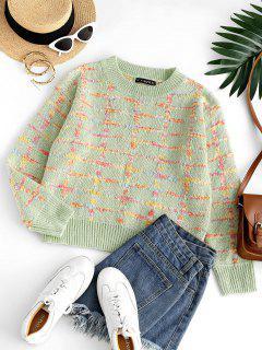Camisola De Lã Tricotada Com Gola Redonda - Luz Verde