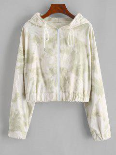 Tie Dye Zip Corduroy Hooded Jacket - Light Green L