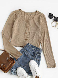 ZAFUL Rib Knit Lettuce Trim Ruffled Crop Tee - Camel Brown M