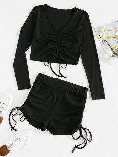 ZAFUL Ribbed Cinched High Waisted Shorts Set - Black S