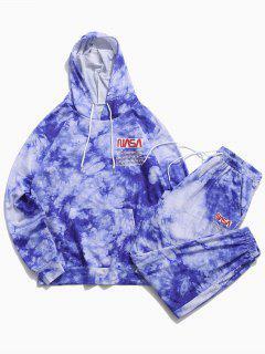 Letter Pattern Tie Dye Hoodie And Pants Set - Blue 2xl