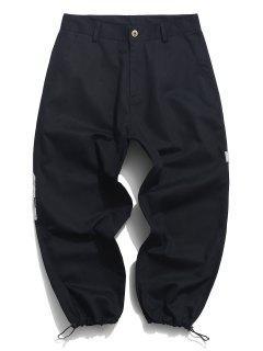 Contrast Pocket Patch Drawstring Hem Cargo Pants - Black S